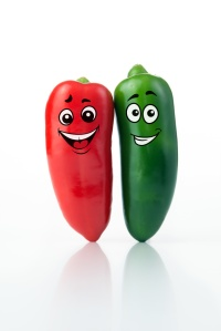 Red green jalapeno characters